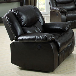 """Acme Furniture - Fullerton Recliner with Power Motion in Espresso Bonded Leather - Fullerton Recliner with Power Motion in Espresso BLM; Finish: Espresso BLM; KD Back, KD back Wing; Materials: Bonded Leather/ PU, Foam, Solid Wood, Ply; Weight: 85 lbs; Dimensions: 39"""" x 37"""" x 38""""H"""