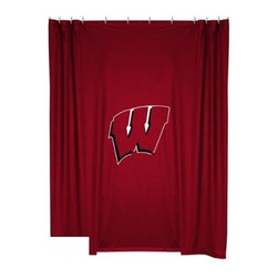 Sports Coverage - Wisconsin University Shower Curtain - This 72 x 72 officially licensed Wisconsin University shower curtain of jersey material with logo is perfect for any bathroom in need of a little extra team spirit. It weighs approximately one pound and is screen printed with Plastisol. Shower Curtain is 100% Polyester Jersey