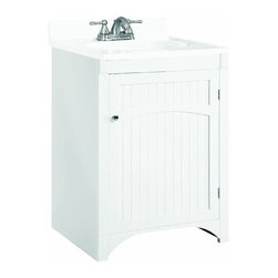 "DHI-Corp - Cottage White Vanity Cabinet with 1-Door, 24"" by 21"" by 33.5"" - The Design House 541557 Cottage White Vanity Cabinet features a durable white finish and satin nickel hardware. Perfect for an elegant country style home, this vanity features wainscoting plank style panels, clean lines and concealed hinges. The 1-door construction gives you plenty of storage for toiletries to keep your countertop free of clutter. The door opens with a fluid motion, does not whine or creak and can endure moderate stress. Measuring 24-inches by 21-inches by 33.5-inches, this vanity can fit into a small bathroom. Traditional construction meshes with subtle modern details to quickly brighten up your bathroom. This product is perfect for remodeling your bathroom and will match granite countertops and colored walls. The Design House 541557 Cottage White Vanity Cabinet has a 1-year limited warranty that protects against defects in materials and workmanship. Design House offers products in multiple home decor categories including lighting, ceiling fans, hardware and plumbing products. With years of hands-on experience, Design House understands every aspect of the home decor industry, and devotes itself to providing quality products across the home decor spectrum. Providing value to their customers, Design House uses industry leading merchandising solutions and innovative programs. Design House is committed to providing high quality products for your home improvement projects."
