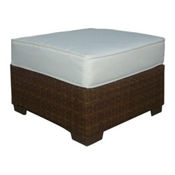 Panama Jack - Panama Jack St. Barth's Aluminum Ottoman - Escape to your very own Caribbean paradise with The St Barth's collection by Panama Jack. The Ottoman incorporates an extruded aluminum frame with an exclusive thick woven wicker fiber from Viro and is strong and durable. A fast drying cushion of polyester fabric as shown compliments the Ottoman to provide extra support. For an additional charge you can upgrade to a high quality Sunbrella fabric cushion with a variety of colors and patterns to choose from to match your outdoor decor. Combine the ottoman with armless chairs and corner chairs and create a sectional you can design. Or pair it with other items in this collection to create the ultimate Caribbean paradise in your home patio. The St. Barth's collection by Panama Jack incorporates an extruded aluminum frame with an exclusive thick woven wicker fiber from Viro. The arms on the lounge chair and loveseat are thick and provide a comfortable arm rest. Fast drying cushions with outdoor polyester fabric are included and are suitable for all year around use outdoor.More than three decades ago the Original Panama Jack suncare products were quietly introduced on Florida's beaches. Word gets around in a beach town. Like the sand in their shoes and the sunset memories in their minds loyal locals and visitors alike took Panama Jack home with them to Main Street America and to the world. Since those early days Panama Jack established a following that extends far beyond stretches of pure white sand. Made with Love Care and Pride since 1974 Panama Jack is committed to bringing the feeling of escape fun adventure and the lifestyle of the tropics to people everywhere. They will continue to deliver products that provide you with even more freedom to enjoy what's most meaningful to you and your family. Features include Outdoor Ottoman with Cushion Constructed of extruded aluminum frame that will not rust Weather and UV resistant Cushion as shown included with Polyester F
