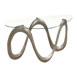 Magnussen - Magnussen Spano Sofa Table in Brushed Pewter - Magnussen - Console Tables - T205392XKIT - Style your living room with this modern Sofa table from the Spano collection. Its design inculcates fluid curves and elegant forms dressed in brushed pewter finish. The table has a sofa table top and base. It also has aluminum pucks and levelers that help in keeping it sturdy. Made from PU with clear tempered glass, it has a high quality design. This table is very convenient to maintain and clean be cleaned along with a damp cloth and mild soap.