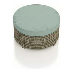 Forever Patio - Hampton Radius Round Modern Ottoman, Heather Wicker and Spa Cushions - The Forever Patio Hampton Radius Outdoor Rattan Large Round Ottoman with Turquoise Sunbrella cushions (SKU FP-HAMR-LOT-HT-SP) is the perfect addition to any curved Hampton seating set, whether you want a footrest, or an extra seat. The UV-protected, heather wicker sports a flat woven design, creating a contemporary look with clean lines. Each strand of this outdoor wicker is made from High-Density Polyethylene (HDPE) and is infused with its rich color and UV-inhibitors that prevent cracking, chipping and fading ordinarily caused by sunlight. This modern patio ottoman is supported by thick-gauged, powder-coated aluminum frames that make it more durable than natural rattan. This ottoman includes a fade- and mildew-resistant Sunbrella cushion for added comfort in your outdoor space.