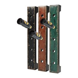 Sterling Industries - Wall Hanging Wine Racks, Set of 3 - Set of 3 Wall Hanging Wine Racks in Reiss Black and Red and Green by Sterling Industries