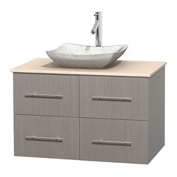 "Wyndham Collection - Centra 36"" Grey Oak SGL Vanity, Ivory Marble Top, Avalon Sink, No Mrr - Simplicity and elegance combine in the perfect lines of the Centra vanity by the Wyndham Collection. If cutting-edge contemporary design is your style then the Centra vanity is for you - modern, chic and built to last a lifetime. Available with green glass, pure white man-made stone, ivory marble or white carrera marble counters, with stunning vessel or undermount sink(s) and matching Mrr(s). Featuring soft close door hinges, drawer glides, and meticulously finished with brushed chrome hardware. The attention to detail on this beautiful vanity is second to none."