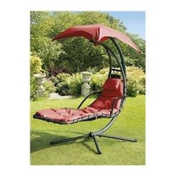 SunTime GF05530 Helicopter Swing, Steel, Red Canopy & Cushion - You and really stretch out in this swing and keep the sun off you at the same time.