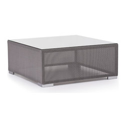 Zuo Modern - Clear Water Bay Table Gray - Versatile and durable, the Clear Water Outdoor series will transform any outdoor setting. The frame is aluminum with a textile weave outer covering. Glass top is 10mm and is tempered for durability.