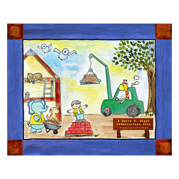 Oh How Cute Kids by Serena Bowman - Lets Get to Work Building, Ready To Hang Canvas Kid's Wall Decor, 8 X 10 - What little guy wouldn't like to be in charge of this construction crew?!?  This is part of my Let's Get to Work series of 3.