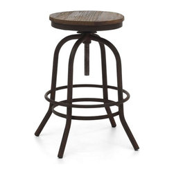 Twin Peaks Counter Stool Distressed Natural - Based on the same mechanisms of drafters chairs in the early 1900's, the Twin Peaks counter stool's adjustable mechanism allows a comfortable height for anyone. The top is solid Elmwood and the base and accents are antique metal.  Also available as a Counter Chair - See more at: http://stylishbeachhome.com
