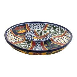 "Mexican Talavera - Mexican Talavera 12"" Chip & Dip Plate, Design C - Mexican Talavera 12"" Chip & Dip Plate"