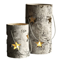 Indoor/Outdoor Birch Candle Lanterns-Tealight - If you are the type who loves nothing more on a crisp fall night, or a cold winter evening, than sitting in front of a roaring fire, you will love these rustic outdoor candle accents that will help to light your way, from the house to the fire and back again. Candle decor has always been a great gift, and nothing will be more pleasing to the outdoor enthusiast than these rustic birch lanterns, which are lined with internal glass containers.