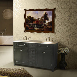 Stufurhome - Vesta Double Sink Vanity with Travertine Marble Top - The Vesta Double Bathroom Vanity has a very simple design, making it ideal for any master bathroom.