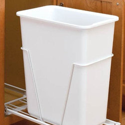 Home Decorators Collection - Rev-A-Shelf 30 Quart Pull-Out Waste Container - The Rev-A-Shelf 30 Quart Pull-Out Waste Container allows you to store trash out of the way, streamlining your space and allowing more room to work. Includes sliding base and 30-quart trash can. 100-pound rated full-extension ball-bearing slides. Simple 4-screw installation. Optional door mount kit sold separately. Limited lifetime warranty.