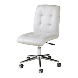 Pastel Furniture - Pastel Furniture Hoquiam 37 Inch Office Chair in Ivory - The Hoquiam armless office chair is handsomely and comfortably upholstered in PU Ivory. This chair will brighten any room and features executive styling that will be ideal in modern, open spaces.The chair features a lift adjustable seat height with chrome and aluminum base with wheel casters.