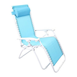 "Lamps Plus - Contemporary Zero Gravity Turquoise Outdoor Chaise Lounge - Zero Gravity Turquoise Outdoor Chaise Lounge Turquoise adjustable outdoor chaise lounge chair. PVC mesh fabric on metal frame. Folds easily for storage. Great for a day at the beach or napping in the yard or by the pool. Fully assembled. 65"" deep. 25 1/2"" wide. 44 1/2"" high.  Turquoise adjustable outdoor chaise lounge chair.  PVC mesh fabric on metal frame.  Folds easily for storage.  Great for a day at the beach or napping in the yard or by the pool.  Fully assembled.  65"" deep.  25 1/2"" wide.  44 1/2"" high."
