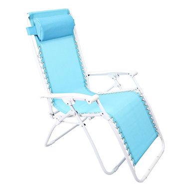 """Lamps Plus - Contemporary Zero Gravity Turquoise Outdoor Chaise Lounge - Zero Gravity Turquoise Outdoor Chaise Lounge Turquoise adjustable outdoor chaise lounge chair. PVC mesh fabric on metal frame. Folds easily for storage. Great for a day at the beach or napping in the yard or by the pool. Fully assembled. 65"""" deep. 25 1/2"""" wide. 44 1/2"""" high.  Turquoise adjustable outdoor chaise lounge chair.  PVC mesh fabric on metal frame.  Folds easily for storage.  Great for a day at the beach or napping in the yard or by the pool.  Fully assembled.  65"""" deep.  25 1/2"""" wide.  44 1/2"""" high."""