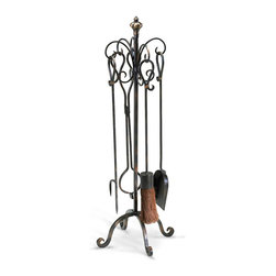 Scroll Hearth Tools Set - The simplicity of traditional craftsmanship makes its presence known at the fireside with this freestanding set of fireplace necessities. The Scroll Hearth Stand and Tools has a sense of authenticity, embraced by the simple curves of hooks and feet and emphasized by each of the four useful fireplace tools included in this handsome, classic set.