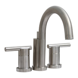 """Premier - Essen Mini-Widespread Lavatory Lead Free Faucet - Brushed Nickel - The Essen collection by Premier redefines contemporary fashion and functionality in modern bath fixtures. The Premier Essen mini-widespread lavatory faucet offers the decorative appearance of a widespread faucet in a standard 4"""", three-hole installation. Its sleek, minimalist style adds a touch of modernism to any bathroom decor. Quality lead-free brass construction and ceramic disc cartridges deliver superlative performance. The Essen faucet features 0.5"""" IPS connections and a deluxe PVD brushed nickel finish. Premier's physical vapor deposition (PVD) process creates a finish that is exceptionally durable and resistant to scratching, tarnishing, corrosion, and discoloration. This faucet complies with the requirements of the Uniform Plumbing Code and the Americans with Disabilities Act. It includes Premier's industry-leading Limited Lifetime Warranty. Choose this Essen faucet today to add an aura of sophistication to your bathroom. Essen, with its stunning style and chic appeal, is the epitome of neoteric design in faucets. This faucet meets the strict lead-free requirements of California and Vermont."""
