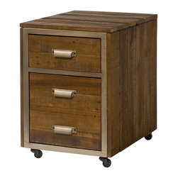 """Hammary - Flashback Mobile File - A warm & welcoming collection using reclaimed materials. The contrast of the rustic wood on linear metal frames adds to the high end styling. Crafted of Reclaimed Hardwoods in a Rusty Red-Brown finish with Oiled Bronze color steel frames.. Flashback Mobile File; 1 Top Drawer for Storage; Bottom File Drawer Looks Like 2 Drawers; Castered; Dimensions: 17""""W x 22""""D x 24""""H"""