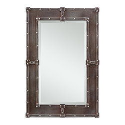 """Cooper Classics - Contemporary Cooper Classics Lamare 35"""" High Rectangular Wall Mirror - Add some rough-hewn style to your decor with the Lamare rectangular wall mirror from Cooper Classics. Frame features rivets and industrial details on inner and outer rim and a warm copper finish. Beveled class keeps this masculine design sleek. Great piece for a hallway den or foyer. Copper finish. Rivet details on inner and outer rims. Beveled glass edge. Hang vertically or horizontally. 35"""" high. 24"""" wide. Mirror glass only is 27"""" high 15 1/2"""" wide. Hang weight 11 lbs.  Copper finish.  Rivet details on inner and outer rims.  Beveled glass edge.  Hang vertically or horizontally.  3-hole hanger.  35"""" high.  24"""" wide.  Mirror glass only is 27"""" high 15 1/2"""" wide.  Hang weight 11 lbs."""