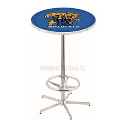 "Holland Bar Stool - Holland Bar Stool L216 - 42 Inch Chrome Kentucky Inchwildcat Inch Pub Table - L216 - 42 Inch Chrome Kentucky  Inchwildcat Inch Pub Table  belongs to College Collection by Holland Bar Stool Made for the ultimate sports fan, impress your buddies with this knockout from Holland Bar Stool. This L216 Kentucky ""Wildcat"" table with retro inspried base provides a quality piece to for your Man Cave. You can't find a higher quality logo table on the market. The plating grade steel used to build the frame ensures it will withstand the abuse of the rowdiest of friends for years to come. The structure is triple chrome plated to ensure a rich, sleek, long lasting finish. If you're finishing your bar or game room, do it right with a table from Holland Bar Stool.  Pub Table (1)"