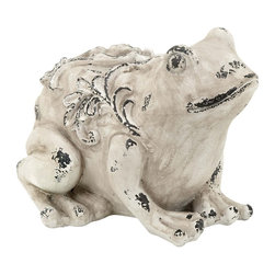 Garden Frog with Realistic Appearance - if you want to decorate your outdoor area with a more versatile accessory then this Fiber Glass Garden Frog is perfect. This accessory can enhance aesthetics of your home or office. It features an understated style that ensures it is versatile for blending in with different kinds of settings. Sporting a vintage, worn out look, this garden frog is also ideal for accenting the appearance of home ponds and other outdoor settings that need to be given an attractive appeal. Crafted with skilled workmanship, the frog has an artistic appearance as it includes fine detailing and intricate styling for a realistic appearance. Made from top quality fiber glass, this decorative frog is designed by master artists that make it extremely eye catching in appearance.. It comes with a dimension: