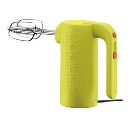 BISTRO Electric Hand Mixer Lime Green - I love, love, love everything about this mixer: the style, the colors, and the two cool-looking red buttons. This is another one of those tools you use all the time, so you want it to be colorful and fun to use. A perfect hand mixer for a chef.