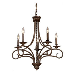 Elk Lighting - Gloucester Antique Bronze Five-Light Chandelier - The Gloucester collection reflects the romance of old world Europe.  Finished in weathered bronze, this series features graceful wrought iron metalwork, candlestick styled bobeches, and a twisted center column.  - Includes 3 feet of chain and 6 feet of wire Elk Lighting - 15042/5