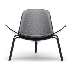 "Carl Hansen & Son - Carl Hansen & Son CH07 Maharam Shell Chair Project - Peep - Officially called ""CH07"" —but known to everyone by its nickname—the Shell Chair is now one of Wegner's most recognized creations. On the occasion of its 50th anniversary, the perpetually innovative Shell Chair serves as a foil for Maharam's diverse range of textiles, including homespun wool textures, re-editioned designs of the Wiener Werkstätte and Alexander Girard, and collaborations with Hella Jongerius and Paul Smith.  Twenty special Shell Chairs, each with a different Maharam textile and coordinating wood frame, will be offered for sale starting September 1 as part of the Maharam Shell Chair Project.  Manufactured by Carl Hansen & Son.Designed in 1963."