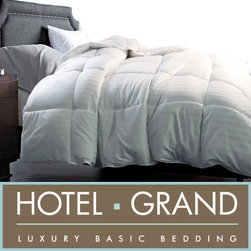 Hotel Grand - Hotel Grand 350 Thread Count Damask White Goose Down Blend Comforter - Sleep in cozy comfort under this luxury white goose down comforter with a luxuriously soft 350 thread count cotton cover. The white comforter features a baffle box construction to keep the combination of down and feathers comfortably fluffy.
