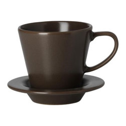 DINERA Coffee cup and saucer - Coffee cup and saucer, brown