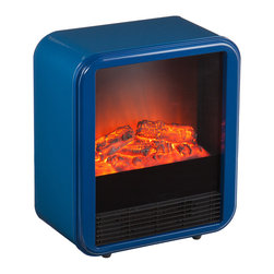 "Holly & Martin - Holly & Martin Fasser Electric Fireplace - Navy X-6093AF - Square away style with functional pops of color. The Fasser Electric Fireplace energizes any area with warmth and a bold navy finish. Add heat for drafty spots, and move this portable fireplace with you from room to room. It's as simple as plugging it in and cozying up!  - OVERVIEW                                                                                              - Portable fireplace heater design                                                                      - Simply plugs into a standard wall outlet with included 6' power cord                                  - Heats a room from 50 to 70 degrees in about 1 hour for 1,500 cubic feet                               - Low and high heat selections, plus auto shut-off prevents overheating                                 - Contemporary, geometric style with a touch of retro charm                                             - Navy finish                                                                                           - DETAILS                                                                                               - Glass: 10.25"" W x 13.25"" H                                                                            - Clearance below: 8.5"" W x 9"" D x .5"" H                                                                - Heating power: 650W / 2200 BTUs (low), 1300W / 4400 BTUs (high)                                       - Materials: sheet metal, poly, glass, resin                                                            - Use: clearance of 3 ft. on all sides: do NOT place items on top                                       - Assembly: none                                                                                        - Overall: 16.75"" W x 9"" D x 19.5"" H"