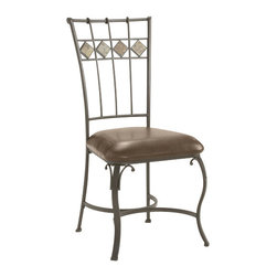 Hillsdale Furniture - Hillsdale Lakeview Side Chair with Slate Panel in Back (Set of 2) - Rustic textures and colors combine to create Hillsdale Furniture's Lakeview dining collection. Boasting a striking fusion of medium oak wood, coppery brown metal, and a dynamic slate inlay in the center of the table, this group also features many options to customize your own ensemble, from a wood top chair or baker rack to a slate topped chair or baker rack with a diamond motif and a rectangle rounded edge or round table. Boasting easy to maintain and versatile brown faux leather seats, a pretty scrolled chair, and a rounded table bases with corresponding slate accents. This unusual ensemble also includes a coordinating sideboard or wine bar and matching 360 degree swivel bar and counter stools. Composed of heavy gauge tubular steel, solid wood edges, climate controlled wood composites and veneers, this unique group is a perfect addition to your home.