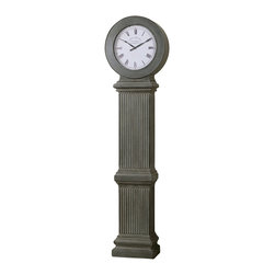 Uttermost - Uttermost Chouteau Floor Clock - Chouteau Floor Clock by Uttermost This Stately Floor Clock Features An Antiqued, Dusty Gray Finish With Burnished Edges. Quartz Movement. Coordinates With Mantel Clock #06088.
