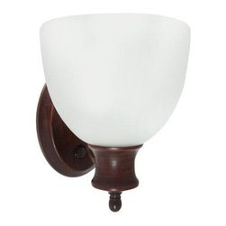 Efficient Lighting - Oil Rubbed Bronze Energy Star Wall Sconce with Switch with Frosted Glass Shade - -Wall sconce with frosted glass shade and oil rubbed bronze finish; built-in switch included  -For use in living rooms, bedrooms, storage rooms, and laundry rooms  -Instant start and flicker free  -Quick run-up time  -Comes with a 2 year warranty  -Easy installation and lamp replacement  -Includes a self-ballast GU-24 bulb  -Energy Star Qualified  -Frosted Glass Shade Efficient Lighting - EL-303-S-123ORB