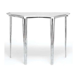 "Benzara - Console Table with Smooth Finish and Intricate Design - Console Table with Smooth Finish and Intricate Design. Personifying opulence and style, this elegant Aluminum console Table is minimally detailed and can be incorporated with all contemporary setups. It comes with following dimensions: 42"" W x 16"" D x 31"" H."