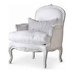 Eloquence - La Belle French Country Style Silver Two Tone White Linen Arm Chair - Sink into the soft, sumptuous white linen upholstery of this French Country armchair. With intricately carved floral details, the weathered white finished wood complements the thick, luxurious cushion. The high arms and back invite you to relax and unwind in sophisticated style.
