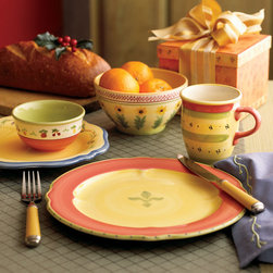 Holiday Dining - Napoli dinnerware is a subtly decorated, hand-painted collection that evokes the light and colors of the coast of Italy. The soft palette of pale orange, yellow, rose, varying shades of blue and light green creates a bright, cheerful setting for any meal. Each piece in Napoli's broad range of items is individually styled, yet the entire collection works together through the repetition of an elegant vine motif and whimsical hand-painted floral renderings.