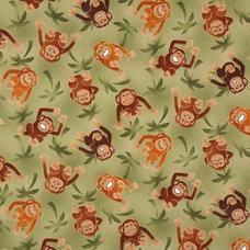 Kids Decor green monkeys fabric with palm trees Robert Kaufman