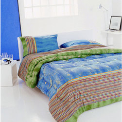 Bassetti - Bassetti 'Bibi V2' Blue and Green Paisley Striped Comforter - Wrap yourself in warmth and style with this multicolored paisley comforter. Made in Italy,this piece showcases cool hues,blending a striped motif and traditional paisley patterns.