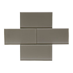 "Brown Glass Subway Tile - Brown Color. Glossy Glass Tile 3""x6"". Price is per square foot."