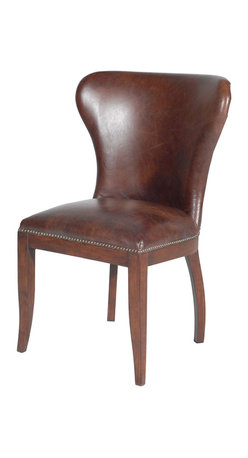 Four Hands - Richmond Dining Chair, Biker Tan/Antique Oak - Inspired by pieces found in libraries of the wealthy at the turn of the last century, this chair pairs timeless elegance with classic design. The curved back and nailhead-trimmed seat are covered in the finest top-grain aniline-dyed leather, giving this chair the comfort and stature its provenance demands.
