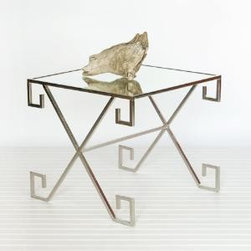 """Nickel Greek Key Side/Accent Table - This lovely accent table features nickel finish with a Greek key design and a mirror top.  The table measures 21""""W X 21""""D X 18""""H.  Product in photo is from www.wellappointedhouse.com"""