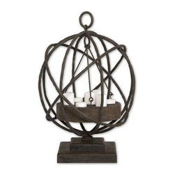 Uttermost - Uttermost 17059 Sammy Wooden Candleholder - Made from plantation grown mindi wood in a weathered chestnut finish with iron details. White candles included.