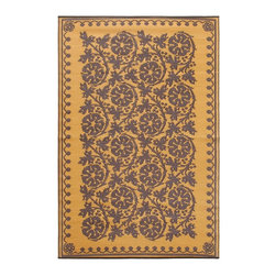 Achla - Cinnamon Cinquefoil Floor Mat - Color the ground you walk or sit on with these polyurethane woven floor mats. Spread them out at the beach, on the porch, floors in the kitchen and childrens rooms or hang them on the wall. Soft on the feet and easy to wipe clean. We recommended using carpet tape to hold them in place indoors. Our mats are made to last, but like everything else, we need to take good care of them. Ideally they should be kept rolled when not in use. Try to avoid leaving mats exposed to sun or rain for long periods of time. Wash by hand and allow to drip dry. Polyurethane, woven floor mats. Used both Indoor and Outdoor. Construction Material: Plastic. No Assembly Required. 48 in. W x 72 in. D x 0.25 in. H (3 lbs.)