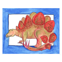 Oh How Cute Kids by Serena Bowman - Stego, Ready To Hang Canvas Kid's Wall Decor, 16 X 20 - This silly, sweet picture is part of my dinosaurs series.