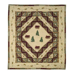 Patch Quilts - Forest Log Cabin Quilt Twin 65 x 85 - - Intricately appliqued and beautifully hand quilted.Bedding ensemble from Patch Magic  - The Name for the finest quality quilts and accessories  - Machine washable.Line or Flat dry only Patch Quilts - QTFOLC
