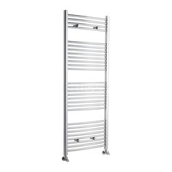 Hudson Reed - Flat Chrome Heated Bathroom Towel Rack 59 inch x 23.5 inch - This tall, curved Ladder Style Heated Towel Rail, with a high quality chrome finish, produces a heat output of 535 Watts (1,825 BTUs), enough to keep your towels warm and heat a small bathroom or cloakroom.  Supplied complete with a fixing pack for wall mounting, this minimalist towel rail has 28 curved horizontal rungs and provides a functional and stylish centrepiece to any contemporary setting. This product is from our Premium range and has 0.9 (22mm) bars which give both a higher output and improved aesthetics. Manufactured by an ISO 9001 registered company.  Suitable for closed loop heating systems, the 59 x 23.5 Heated Bathroom Towel Rack connects to your heating system via the radiator valves included (please choose straight or angled valves). Hudson Reed Chrome Curved Heated Bathroom Towel Radiator Rack 59 x 23.5 Details   Dimensions: (H x W x D) 59 (1500mm) x 23.5 (600mm) x 3 (75m) Output: 535 Watts (1,825 BTUs) Number of cross-bars: 28, with a thickness of 0.9 (22mm), divided into 4 sections of 4, 8, 8, 8 Pipe Centres: 22 (560mm) Fixing Pack Included Suitable for bathroom, cloakroom, kitchen etc. Expertly plated with high quality 62.5 micron chrome on copper plated mild steel, with swagged oven brazed joints. Tested to BS EN442 - 150 psi maximum working pressure 5 Year Guarantee (12 months for surface finish) Please note: Radiator valves are included, please choose either straight or angled radiator valves.  Please Note: Our radiators are designed for forced circulation closed loop systems only. They are not compatible with open loop, gravity hot water or steam systems.