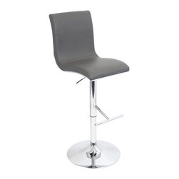 "Lumisource - Spago Bar Stool, Grey - 19.5""L x 14.5""W x 40.25-45.25""H Seat height: 27 - 32"""