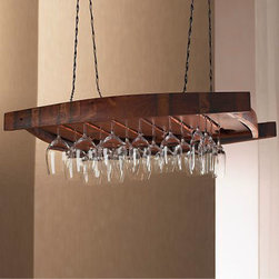 Vintage Oak Hanging Wine Glass Rack - What better way is there to display and store your wineglasses than a gorgeous rack crafted from the staves of oak wine barrels?