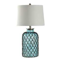 """Lamps Plus - Contemporary Montego Bay Glass Table Lamp - A contemporary nautical look dominates the design of this attractive table lamp. The glass construction comes in a blue hue which reminiscent of the sea. Textured netting surrounds the glass body. Glass table lamp. Blue finish. Glass construction. Netting accent. Linen lampshade. Maximum 150 watt or equivalent bulbs for all three lamps (not included). Rotary switch. Shade is 16"""" across the bottom 14"""" across the top and 11"""" high. 30 1/4"""" high.  Glass table lamp.  Blue finish.  Glass construction.  Netting accent.  Linen lampshade.  Maximum 150 watt or equivalent bulbs for all three lamps (not included).  Rotary switch.  Shade is 16"""" across the bottom 14"""" across the top and 11"""" high.  30 1/4"""" high."""